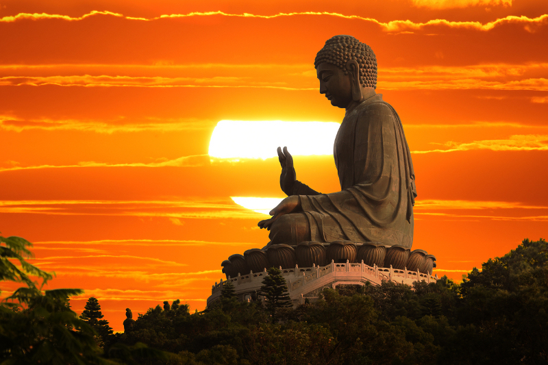 Bhudda Statue with Sunset