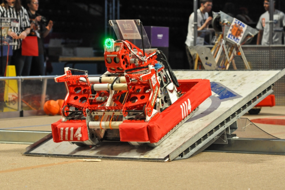 Robot climbing ramp in competition